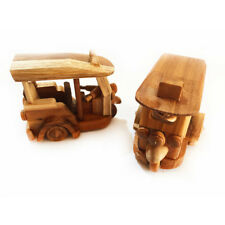 Thai Exquisite Handmade TUK TUK 3 Wheeled Taxi Car Teak Wood Craft Gift Souvenir