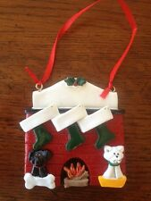 Personalized Fireplace Family of 3 w/ 2 Dog or Cat Christmas Ornament