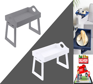 Sofa Arm Rest Chair Remote Organiser Serving Wooden Tray - Blue, White or Grey