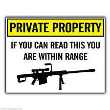 Letrero de metal placa de pared la propiedad privada francotirador pistola advertencia Humorística Divertida Cartel