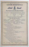 1940's Vintage Breakfast Room Service Menu Card HOTEL BOND Hartford Connecticut
