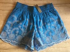 J Crew Womens XS Blue Floral Eyelet Embroidered Pull-On Shorts NEW WITH TAGS