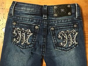MISS ME Girls Denim Boot Cut Jeans Studded Rhinestone Bling NWT NEW! Size 8