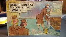 Vintage 1943 WWII Linen Postcard WACS, ARMY GIRLS, Comic, Humor #433