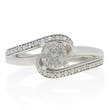 Single Cut Diamond-Accented Ring Sterling Silver Illusion Solitaire Halo Bypass