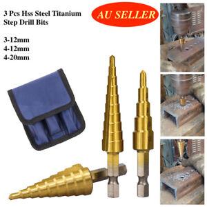 3 Pcs HSS Steel Step Cone drill Bits Set Titanium Hole Cutter 3-12/4-12/4-20mm
