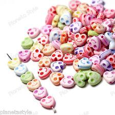 100x Distanziatori Perle Perline Acrilico CUORE SMILE Colori Misti 8mm