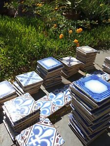 Gorgeous lot 216 original antique tiles Ca1870 France Pas Calais Provecal Style
