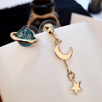 Blue Universe Planet Moon Stars Stud Earrings Personality Women Fashion Earring