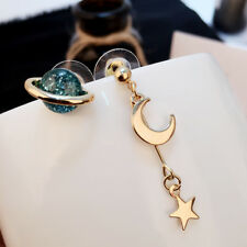Women Blue Planet Earrings Gold Moon Star Drop Dangle Ear Stud Fashion Jewelry