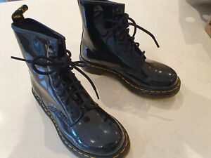 Dr Martens 1460 W black patent leather 8-eye ankle boots (size 5/EU 38)