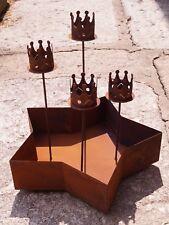 Edelrost Adventleuchter Stern mit Kronen 50x37cm Tischdeko Weihnachten