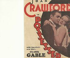 POSSESSED(1931)JOAN CRAWFORD & CLARK GABLE ORIGINAL PRESSBOOK HERALD+