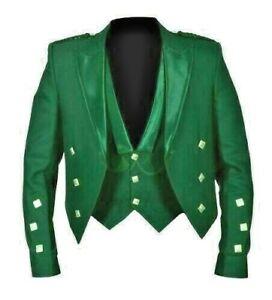 Prince Charlie Jacket Green Barathea, with 3 button vest. Shiny Satin Lapels.