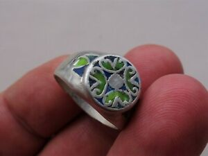 Ancient Medieval Silver ring, with nicely blue and green glass colour bezel