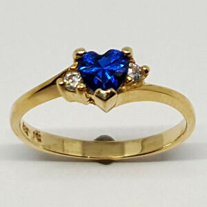 14K solid yellow gold 5mm Sapphire heart shape faceted, white Topaz ring, size 7