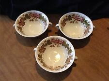 Vintage Wedgwood & Barleston WILDBRIAR Two Handled Cup Soup Set Of 3 Chipped