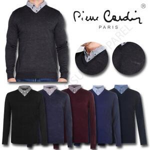 Mens Long Sleeve V Neck Jumper Mock Shirt Pierre Cardin Knitwear Pullover Top