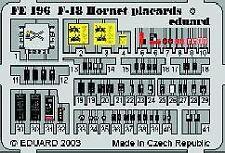 Eduard 1/48 F/A-18 Hornet placards PRE-PAINTED IN COLOUR! # FE196