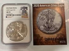 2020 - NGC MS70 1 Oz American Silver Eagle Dollar - Pennsylvania State Series