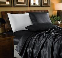Chezmoi Collection 4-Piece Solid Black Bridal Satin Sheet Set