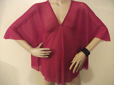 NWT MACY'S SWEET PEA BY STACY FRATI  FUSCHIA PINK BATWING COVER UP TOP SIZE MED