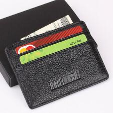 RALLIART Slim Mini Wallet 100% Genuine Cow Leather Credit Card Case Men Holder