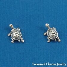 .925 Sterling Silver TURTLE Tortoise Post Stud EARRINGS