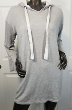 Lazy Sundays Womans Thin Hooded Pullover Size Large  Pockets Gray Feathered