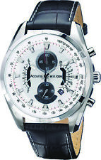 Accurist Mens White Dial Leather Strap Chronograph Watch MS785B RRP £150