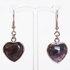 Semi-Precious Silver Heart Stone Earrings - Purple Amethyst
