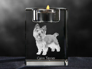 Cairn Terrier, Kristall-Kerzenleuchter mit Hund, Crystal Animals DE