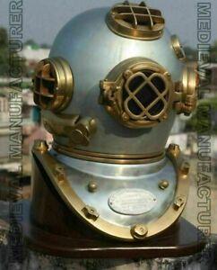 Vintage Copper Silver Divers Diving Helmet ~ Marine/Boston/Scuba/Deep Sea/Navy