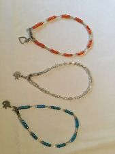 Beaded Fashion Anklets Lot Of 3 Assorted