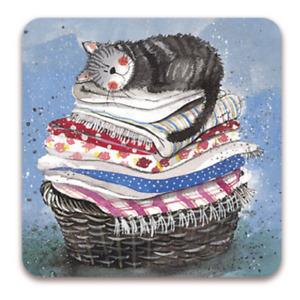 "Alex Clark Cat Kitten Drinks Coaster Table Protector ""Laundry Basket"" Home Decor"