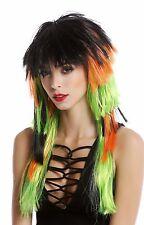 Wig Fan wig Mullet layered Multicoloured Black Orange Green long 90706