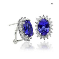 1.74 cts Tanzanite AAA+ & White Sapphire oval  Stud Earring 925 Sterling Silver