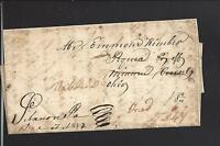 LEBANON, INDIANA 1839 STAMPLESS COVER,FOWARDED, RERATED, MANUSCRIPT CL.