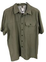 The North Face Mens M Green Plaid Short Sleeve Button Down Shirt Polo