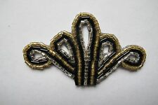 """3"""" Black,Gold,White Crown Beaded Applique-BS08B"""