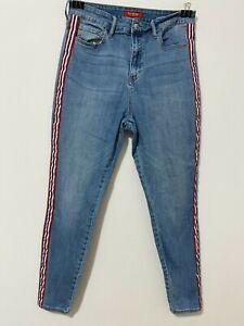 Guess Los Angeles womens skinny leg denim blue jeans, striped legs, size 31 (12)