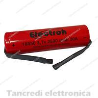 Batteria Ricaricabile Litio 18650 3.7V 2600mAh 8C 20A 7/5AF linguette a saldare