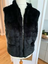 Next Black Faux Fur Soft Gilet Size 12-14
