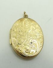Pendant 1.43 Inch 12.8 Grams D5261 Beautiful 14K Ygold Floral Etched Oval Locket