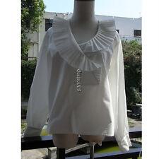 Preppy LOUIS VUITTON White Cotton Pleated Blouse/Shirt F36/S-M Dustbag/Hanger