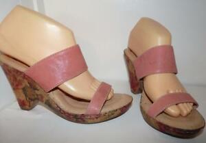 Born Crown Pink Floral Wedge Slides Heels Sz 8 or 39