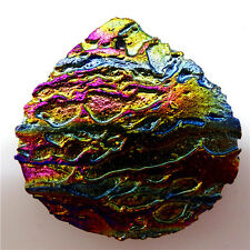Titanium crystal Agate Druzy Quartz Geode stone Pendant Bead 40*40*6mmM563