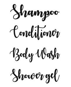 Shampoo Conditioner Body Wash Shower Gel Vinyl Decal Sticker Bundle