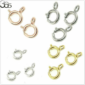 5pcs 100% Real  Silver Rose Gold Findings Spring Ring Jewelry DIY Clasp 5mm