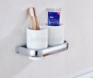 Polished Chrome Toothbrush Holder Double Ceramic Cups Holder Wall Mounted aba836